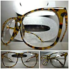 CLASSIC VINTAGE RETRO Style Clear Lens EYE GLASSES Large Leopard Fashion Frame