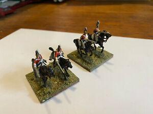 Four painted on base British Dragoons Napoleonic Wars 1/72