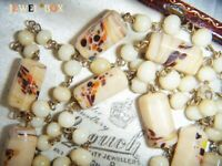 ART DECO VENETIAN MURANO Cream End of Day Long Flapper Wired Vintage NECKLACE