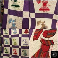 Vintage Sunbonnet Sue Girl Patch Quilt 67 X 70 Embroidered Beautiful SKU 001-008