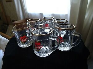Set of 6 small glass tankards Made in France