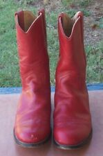 Ladies Justin Red Leather Roper Cowgirl Boots Size 6B Style 30354