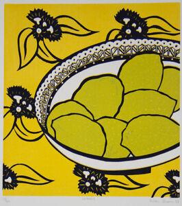 Aileen BROWN Lemons - Signed Linocut, Modernist, Yellow, Still Life, Australian