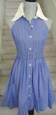 Blue Striped GEARY ROARK Belted Halter Collared Ballon Mini Dress, Sz 2