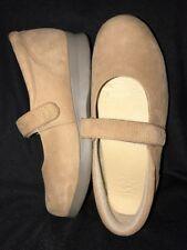 Women Drew Tan Suede Dri-Lex Lined Hook Loop Strap Mary Jane Casual Shoe Sz 7.5W