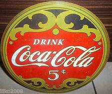 """COCA COLA/ COKE 5 CENTS, ROUND 12"""" STEEL WALL SIGN, REPRO, BAR/DINER/KITCHEN"""