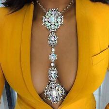 Crystal Luxury Rhinestone Gem Pendant Harness Necklace Bikini Jewelry Body Chain