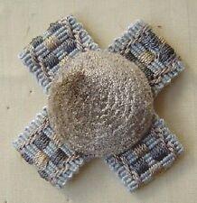 2 Cross Rosettes Silver Grey Silver Blue Natural match Brush Fringe  303-0215