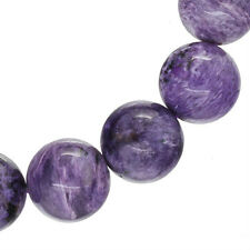 """425ct Large Russian Charoite Stretch Bracelet Round Beads ap. 16mm 9.5"""" #86150"""