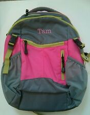Pottery Barn Kids Small Colton Pink Gray Green Backpack with name TAM New
