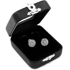 Round Screw Back Stud Earrings M E23 Men's Silver Hip Hop Iced Out Paved Cz
