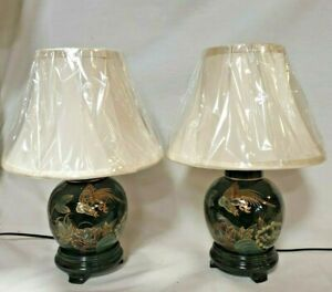 Pair of Black Lacquer Oriental Ginger Jar Lamps complete with Silk Shade