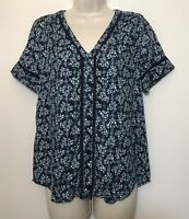 Hinge Anthropologie XS Top Blue Floral Short Sleeve V-Neck Relaxed Fit Blouse