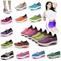 Women Mom Slip On Sports Casual Sneaker Breathable Running Platform Wedges Shoes