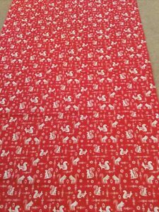 Brand New Red Cotton Fabric Sewing Christmas Squirrel Heavy Weight Large Craft