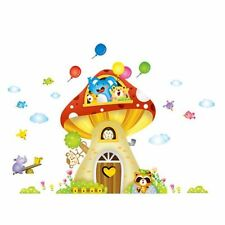 Huge Mushroom Animal Tree House Removable Wall Sticker Kids Nursery DIY Mural