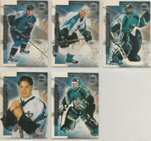 SAN JOSE SHARKS ~ 1999-2000 PACIFIC DYNAGON ICE Team Lot / Set ~ 5 Hockey Cards