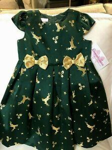 NWT Girls Childs BONNIE JEAN Christmas Reindeer Green/Gold Dress Size 5