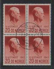 B3250: Norway #B25 Used Block, VF, Sound; CV $100+