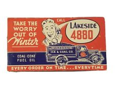 Vtg Wisconsin Ice & Coal Fuel Oil Coke Advertising Ink Blotter approx 6