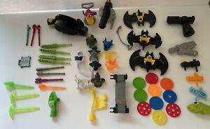 Large Imaginext Batman Accessories Lot Discs Missiles Cycle Armor Guns Batwings
