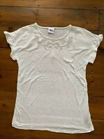Mama Licious Maternity Top Size Small White Mesh Insert Short Sleeve