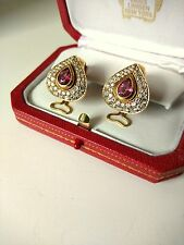 Cartier Unique Earrings-18kt Gold-Pink Pear-shape Sapphire and Pave Diamonds