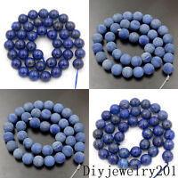 """Lapis Lazuli Smooth Matte Frosted Faceted Gemstone Round Beads 6mm 8mm 10mm 15"""""""
