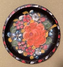 Mexican Batea Bowl Plate Folk Art Flowers Wood Toleware Hand-painted 11.5 inches