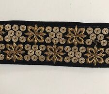 ATTRACTIVE INDIAN BLACK VALOUR WITH GOLD EMBROIDERY TRIM/LACE-Sold By MTR