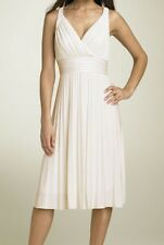 SUZY CHIN IVORY PLEATED JERSEY DRESS ~SIZE 8