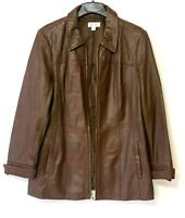 Denim + Company D & CO. Women's Brown Soft Leather Jacket Size Large