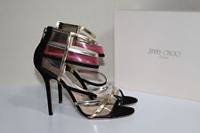 sz 10 / 40 Jimmy Choo Mai Tai Black & Gold PVC Ankle Sandal Pump Shoes