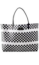 Kate Spade NY Black & White Crosshatched Coated Canvas Large Bag Tote