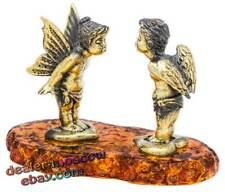 Bronze Solid Brass Baltic Amber Figurine Angels in Love - Kiss Statuette