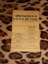 PROGRAME - Spectacles de Paris du 24 au 30 Novembre 1971