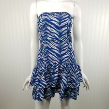 Moda International Flare Dress Size Small Animal Print Strapless Mini Blue White
