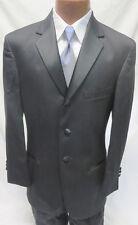 38X Designer Oscar de la Renta Graphite Tuxedo Jacket & Pant Matching Set Formal
