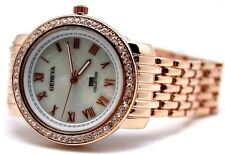 Geneva Women's Watch Mother of Pearl Dial Stones Around Roman Fonts Rose Gold