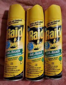 3 Raid Ant & Roach Lemon Scent Spray 17.5oz