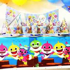 BABY SHARK BIRTHDAY PLATES CUPS NAPKINS LOLLY BAGS BANNER BALLOONS TABLECLOTH