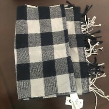 Nwt Mens Old Navy Black Plaid Fringe Scarf
