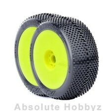 AKA Racing Gridiron II 1/8 Buggy Tires (Pre-Mounted) (Yel) (MED Long Wear) (2)