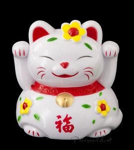 Grande Salvadanaio Gatto Giapponese Bianco 21 CM Maneki Neko Fortuna E 49