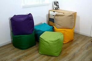 Waterproof Outdoor Indoor Footstool Bean Bag Garden Pouffe Ottomans Filled Cube