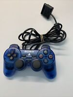 Sony PlayStation 2 PS2 Wired Controller DualShock 2 SCPH-10010 OEM Clear Blue