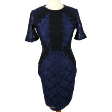 Oasis Size S 10 Navy Blue Lace Dress Fitted Party Short Sleeve Wiggle Xmas