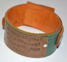 One of a kind leather copper stamped can do great things with love unisex FUN