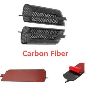 AutoVehicle Side Air Flow Vent Fender Cover Intake Grille Sticker Carbon Fiber