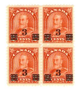 CANADA - 1932 - Block of 4x - 3c overprinted on 2c - Mint MH - Scott191